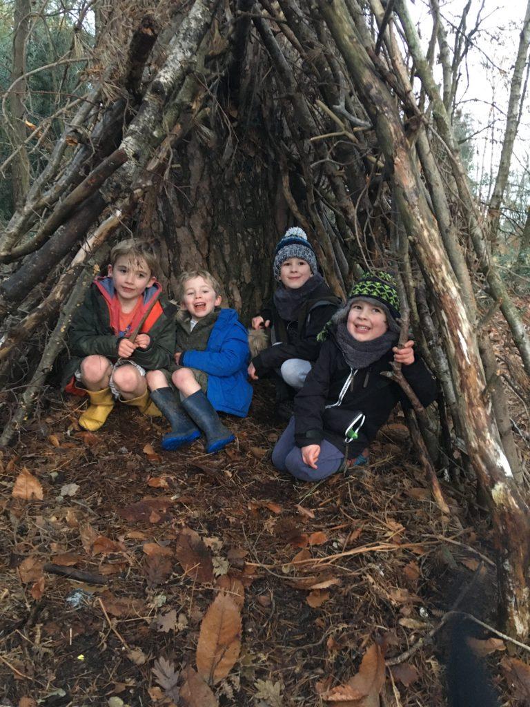 winter woodland den