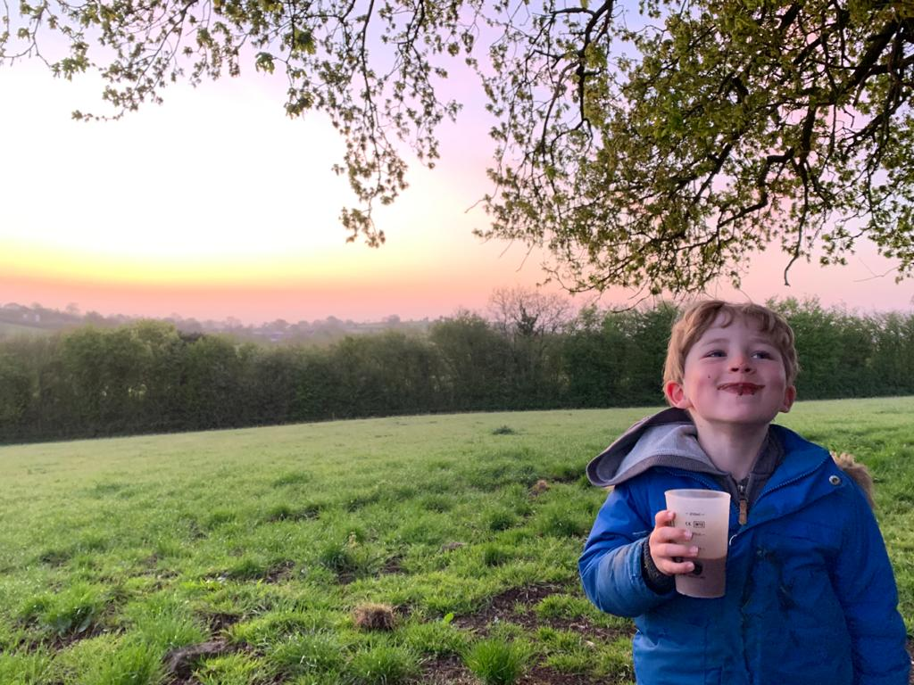 hot chocolate and sun rise